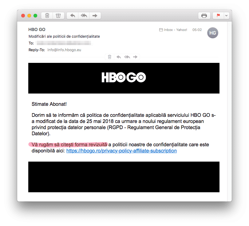 Notificare legată de GDPR a HBO GO